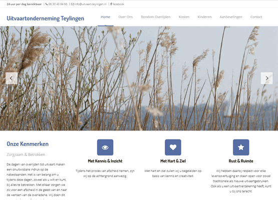 Website Uitvaartonderneming Teylingen